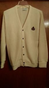 Vintage IZOD LACOSTE Men's White V Neck Acrylic Sweater Size small