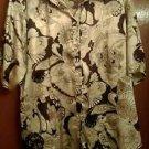 Women's M.K.M silk brown and beige geometric print short sleeve sz3X blouse