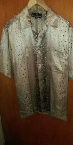 Stacey Adams men's silk short sleeve front button sz M geometric beige polyester