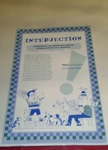 Educational grammar poster Interjection Blue