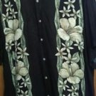 John Ashford mens Hawaiian black and floral short sleeve button front shirt sz L