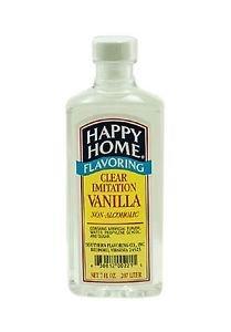 Happy Homes Imitation Clear Vanilla 7 oz extract Dec v 2016 baking