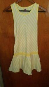 Girls Faded Glory stretch yellow/white sundress  (14-16) cotton sleeveless
