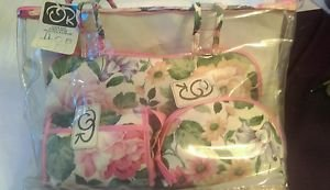 Oscar De La Renta 4pc Makeup Cosmetic Toiletry Bag Travel Set Carry All Organize