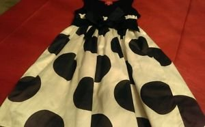 Girls Punky blue and white polka dot dress sz 10 knee length pre owned