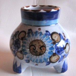 Mexican Pottery Tonala Blue tripod Jar hand painted, signed