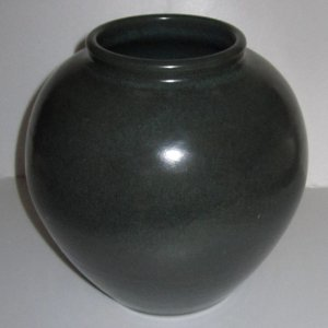 Bruning Pottery Vase hand thrown Green Round Stoneware signed pot