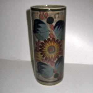 Tonala pottery cylinder vase Mexican folk art