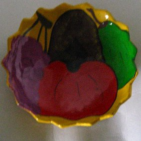 Mexican Painted Clay Pottery tripod fruit bowl scalloped dish