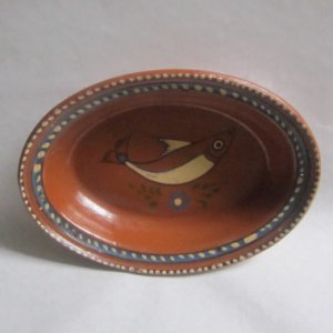 Vintage Mexican Redware pottery Casserole fish dishTlaquepaque