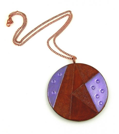Geometric Leather Pendant Necklace Tooled Cowhide Copper Purple Brown Necklace Art Jewelry
