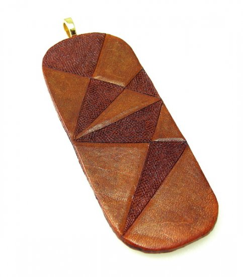 Geometric Leather Pendant Tooled Cowhide Leathercraft Necklace Chic Brown Unisex Art Jewelry