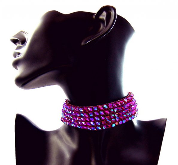 Wine & Roses Choker Handcrafted Weave Swarovski Crystal Fuchsia Formal Wear Art Jewelry