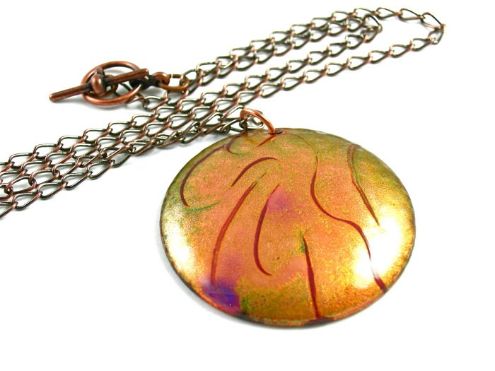 Enameled Copper Pendant Necklace Gold Green Purple Round Abstract Handcrafted OOAK Art Jewelry