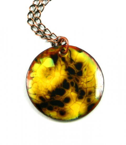 Enameled Copper Pendant Necklace Abstract Round Yellow Contemporary Handcrafted OOAK Art Jewelry