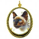 Siamese Cat Pendant Porcelain Cameo Necklace Choker Pet Kitty Lover Brown Silk Art Jewelry