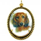 Dachshund Pendant Porcelain Cameo Necklace Choker Pet Dog Lover Green Silk Art Jewelry