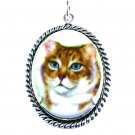 Tabby Cat Pendant Porcelain Cameo Necklace Choker Pet Kitty Lover Blue Silk Art Jewelry