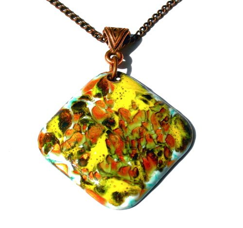Enameled Copper Pendant Necklace Yellow Bronze Diamond Abstract Handcrafted OOAK Art Jewelry