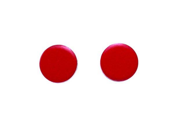 Classy Red Earrings for Guys Men Teens Women Unisex Red Flat Disc Earrings Aluminum Studs 8mm