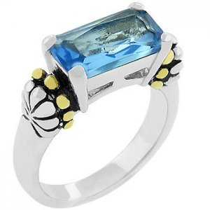 Christine's Blue Topaz14K3.3ct-5g Ring White/yellow Gold size5,6,7,8,9,10 women!