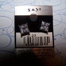 Sparkling Square Earring  New 100% Surgical Steel CE23