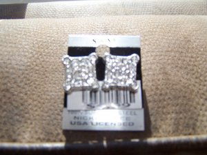 Square Sparkling Earrings  New 100% Surgical Steel