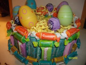 """8"""" Round Everything Tootsie Roll Easter Single Tier Cake"""