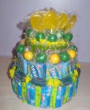 Green & Yellow Mixed Candy Bar Cake