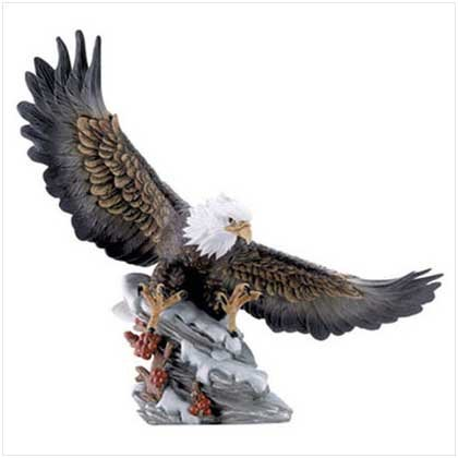 Eagle Soft Landing in Snow Figurine