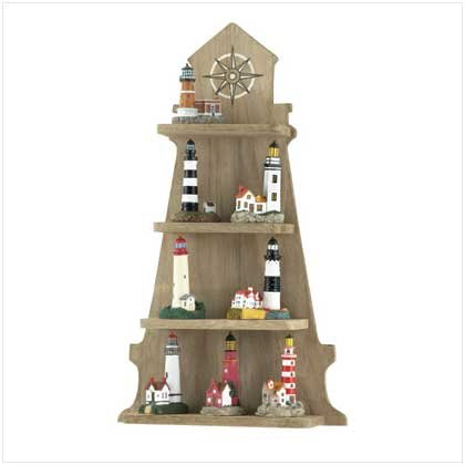 Display shelf w/ 8 Lighthouse Figures