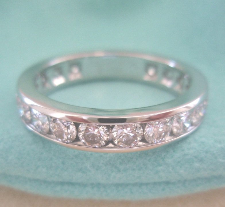 TIFFANY & Co. Platinum 3.9mm Full Circle Channel Set Diamond Band Ring 6.5