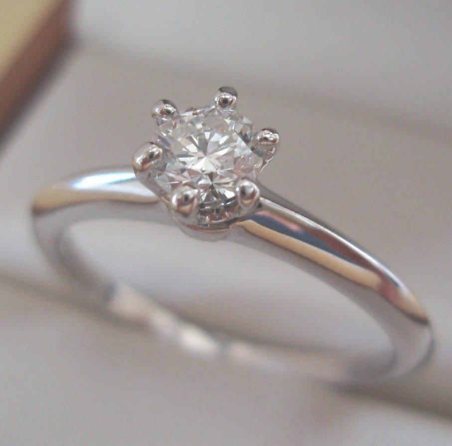 TIFFANY & Co. Platinum .28ct Diamond Engagement Ring 6