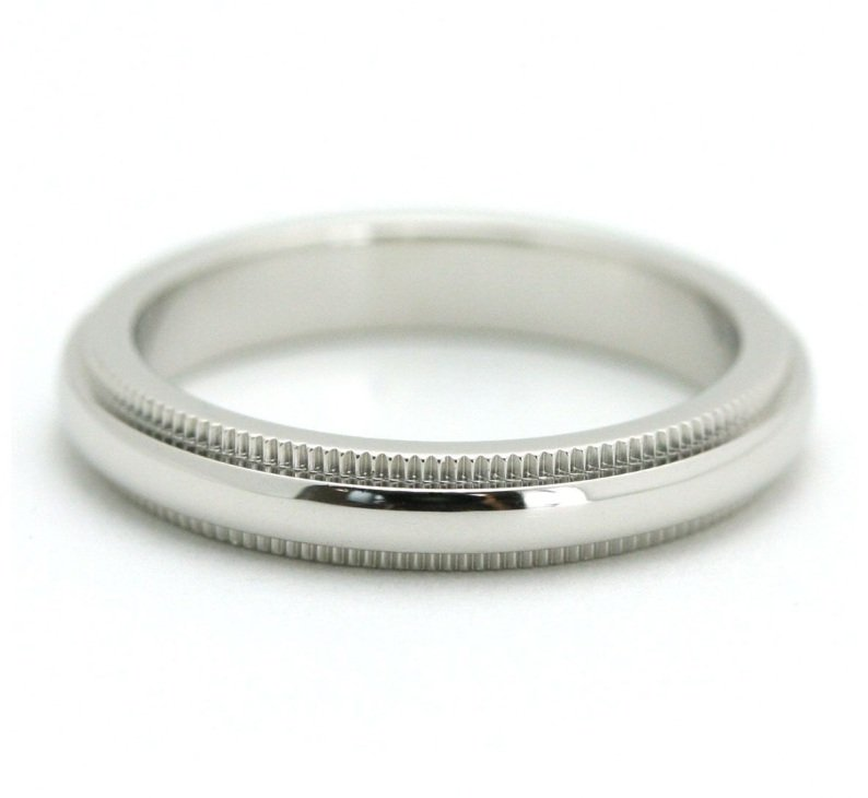 TIFFANY Co Platinum 3mm Milgrain Wedding Band Ring