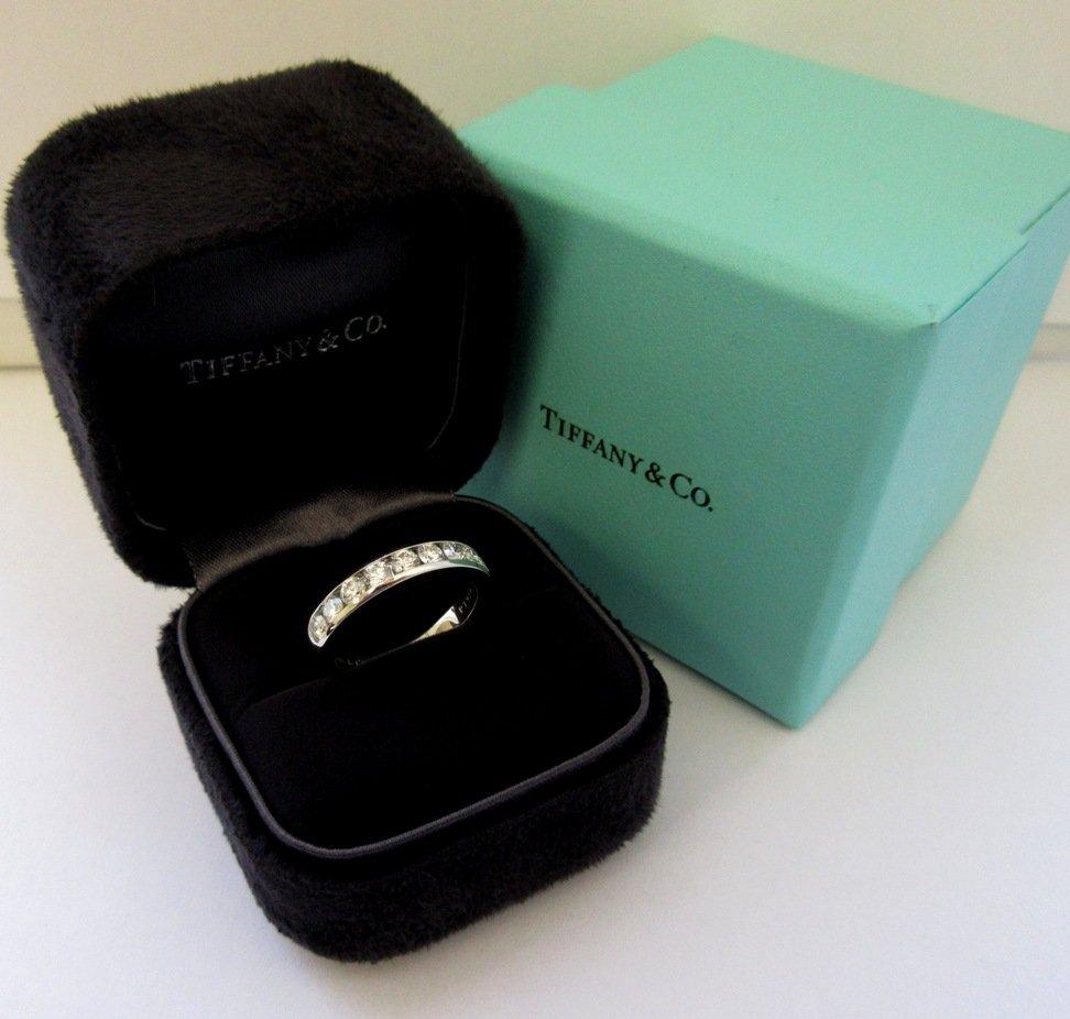 TIFFANY & Co. Platinum 3.9mm Half Circle Channel Set Diamond Band Ring 6.5