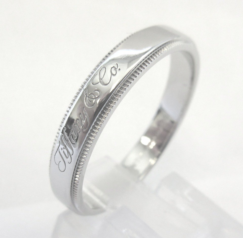 TIFFANY Co Platinum Tiffany Notes 4mm Milgrain Wedding Band Ring 11