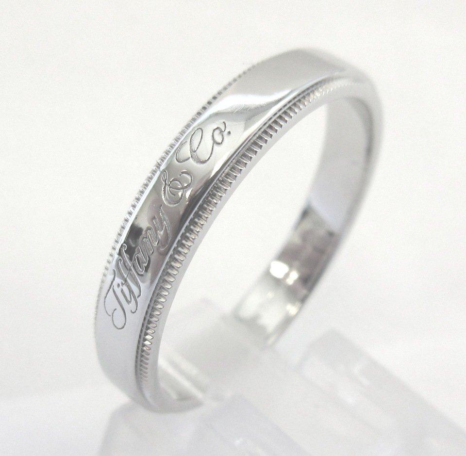 TIFFANY Co Platinum Tiffany Notes 4mm Milgrain Wedding Band Ring 11