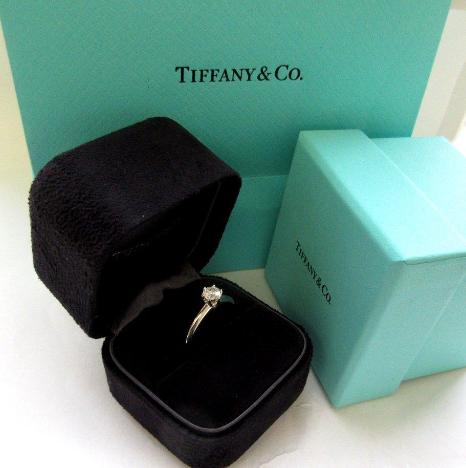 TIFFANY & Co. Platinum .42ct Diamond Engagement Ring 5 --- SOLD