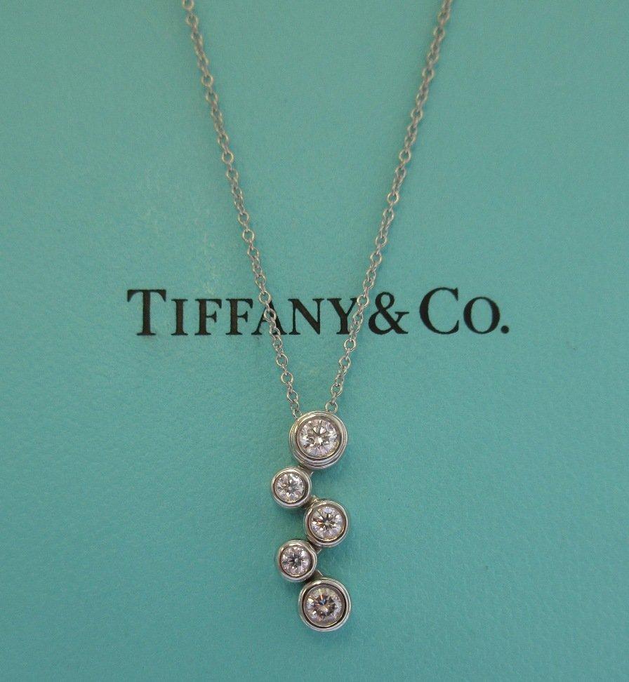 TIFFANY & Co. Platinum Diamond Bubbles Pendant Necklace