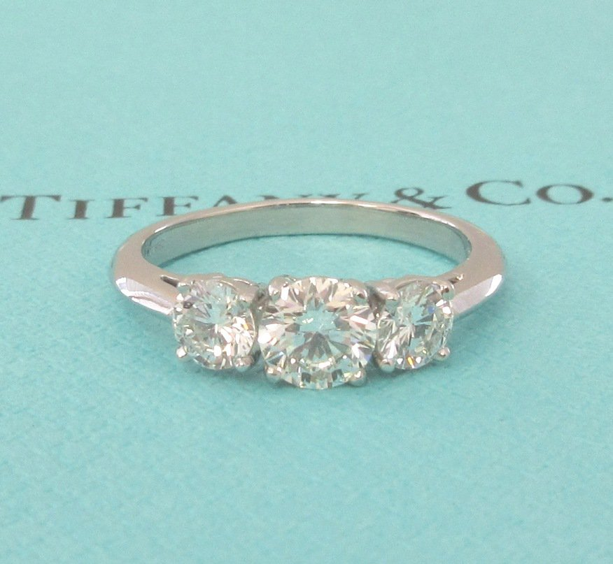 TIFFANY & Co. Platinum Three Stone 1.84ct Diamond Engagement Ring 7.5