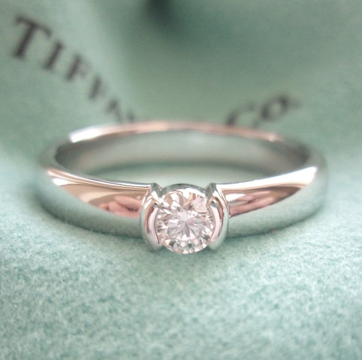 438b63724bd6e TIFFANY & Co. Platinum Etoile Solitaire .18ct Diamond Engagement Ring 7.25
