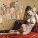 Handmade nude girl canvas art oil painting 07