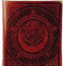 Celtic Spiral Pentagram Leather Blank Book Ox Blood Red