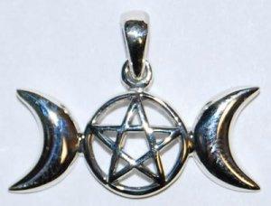 Open-Faced Triple Moon Pentagram Pendant