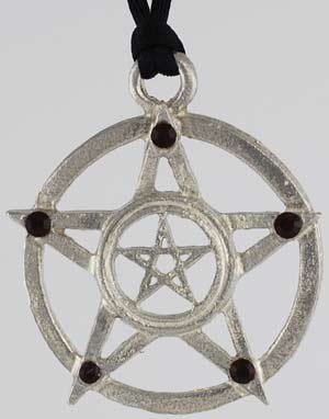 Double Upright Pentacles With Red Stones