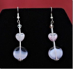 Pink Opalescent Heart Earrings