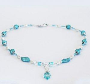 Fantasy Blue Leaf Necklace