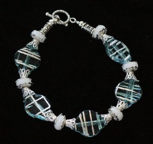 Silver Stripe Blue Czech Glass Bracelet