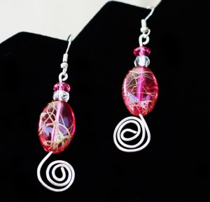 Silver Swirl Pink Crystal Dangles