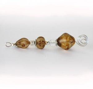 Amber Czech Glass & Silver Pendant